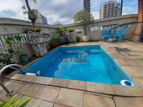 Imagem 1 de 27 de Apartamento Duplex Com 3 Dormitórios À Venda, 300 M² Por R$ 1.800.000,00 - Gonzaga - Santos/sp - Ad0014