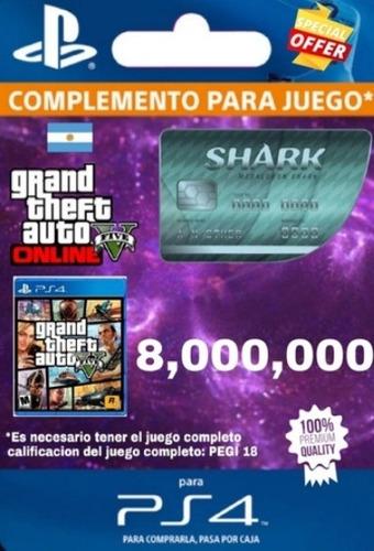 8 Millones Tarjeta Tiburón Gta V Ps4 + Rp + $450.000 + Regal