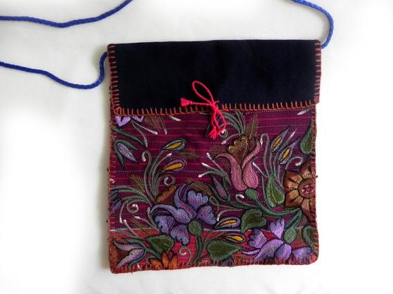 Bolsa En Bordado De Flores Artesanal Chiapaneco, Mod. #2