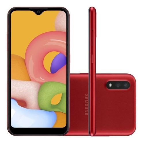Celular Smartphone Samsung Galaxy A01 A015m 32gb Vermelho - Dual Chip