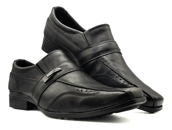 Sapato Social Masculino Preto Couro Sola Borracha Fivela Top