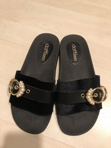 Rasteira Slide Dafiti Shoes Fivela Preta