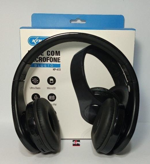 Fone Bluethoot Com Microfone Knup Kp 472 Recarregavel