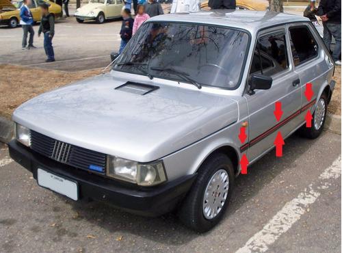 Fiat 147 Vivace Baguetas Negras Con Vira Roja (6 Piezas) !!!