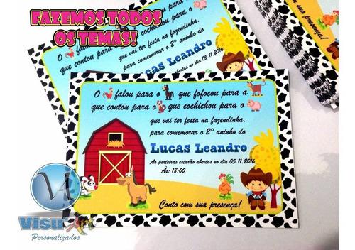 Imagem 1 de 1 de 50 Convites Personalizados Tema Fazendinha Frete Grátis