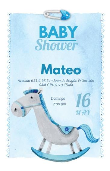 Invitacion Baby Shower Niño Personalizada Digital Imprimble
