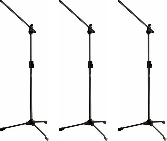 3 Pedestal Suporte Para Microfone Estante Girafa Trava Rapid
