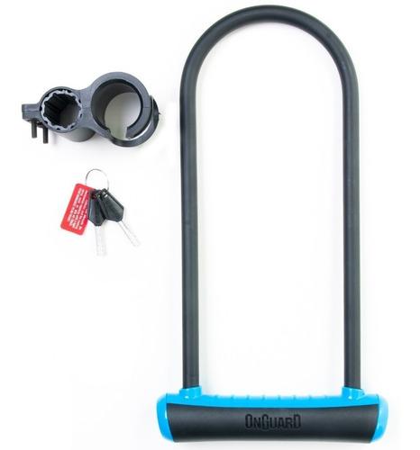Cadeado Trava U-lock Onguard 8152 Chave Bike Moto Azul Neon