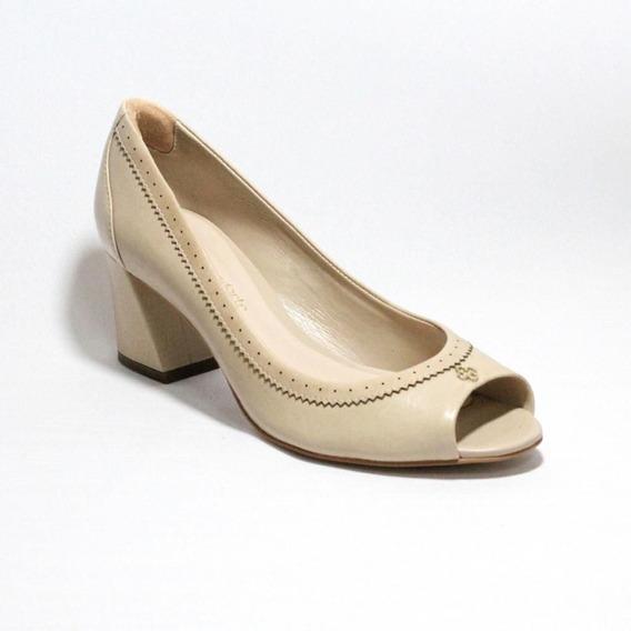Sapato Feminino Scarpin Nude Salto Baixo Grosso Capodarte