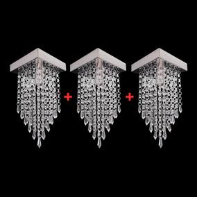 Kit 3 Lustre Pendente Cristal Acrílico Pequeno 16x16x26