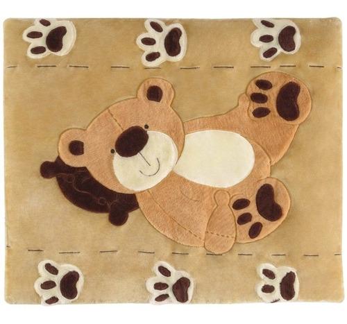 Imagem 1 de 3 de Tapete Infantil Em Pelúcia Quarto Bebê Urso Patinhas Big