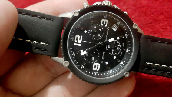 Relógio Swiss Maquinário Eta Quartz Cronógrafo Preto