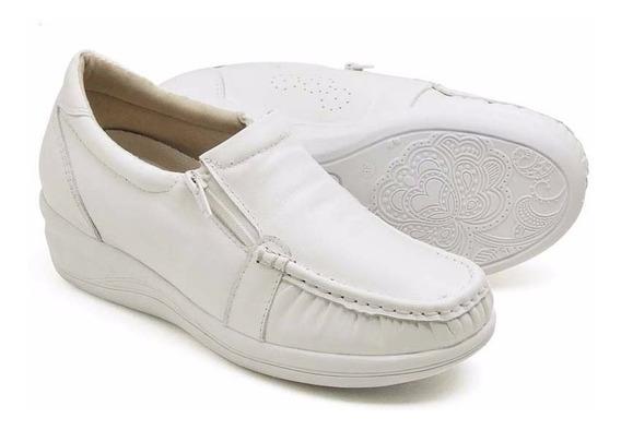 Mocassim Feminino Sapato Infermagem Couro Anti Stress Branco