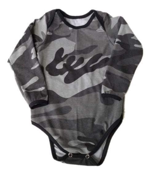 Body Camuflado Urbano Manga Longa - Bebê Liso Body Infantil