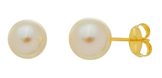 Brinco Pérola Folheado Ouro 18k Antialergico Semi Joia 10mm
