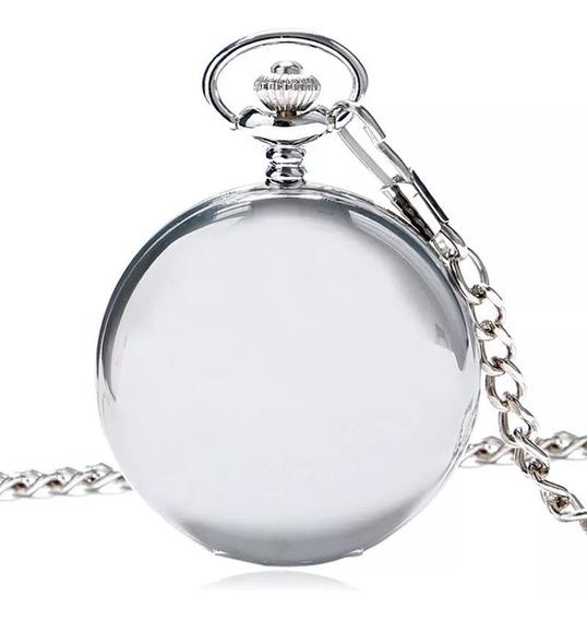 Reloj De Bolsillo Color Plateado Liso Con Leontina 30cm