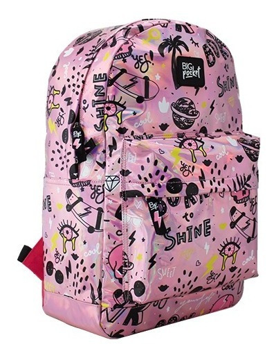 Mochila Escolar Chicas Big Pocket Holográfica 17 Just Cool