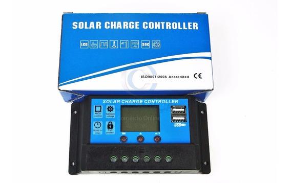 2 Unidades Controlador Carga Painel Solar 30a Usb 12/24v Pwm