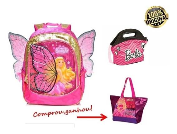 Kit Mochila G + Lancheira Barbie Butterfly Sestini + Brinde