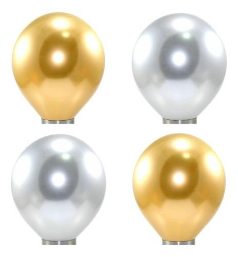 Imagem 1 de 5 de 50 Unidades - Balão Cromado Decoração Réveillon E Ano Novo