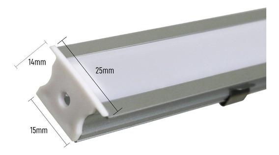 Perfil Alumínio Embutir Slim 2 Metros P/ Fita Led