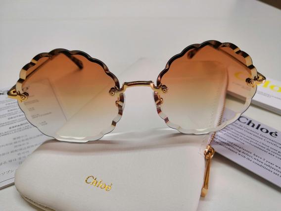 Óculos Sol Chloé Carlina Flower Rosie Marrom Degradê