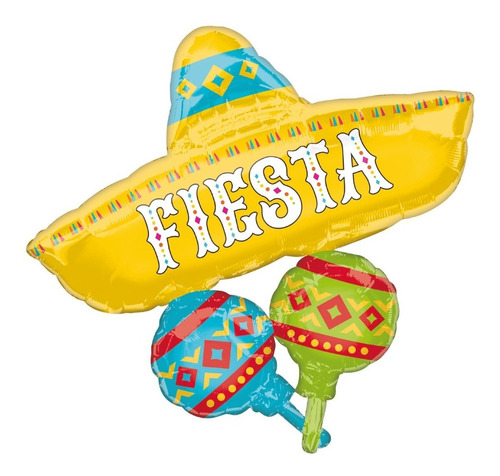 Imagen 1 de 1 de Globo Papel Picado Sombrero Maraca Met Jumbo Fiesta Mexicana