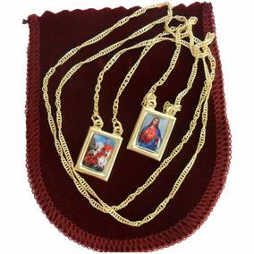 Escapulário Sagrado Coração E São Jorge Folheado A Ouro 18k