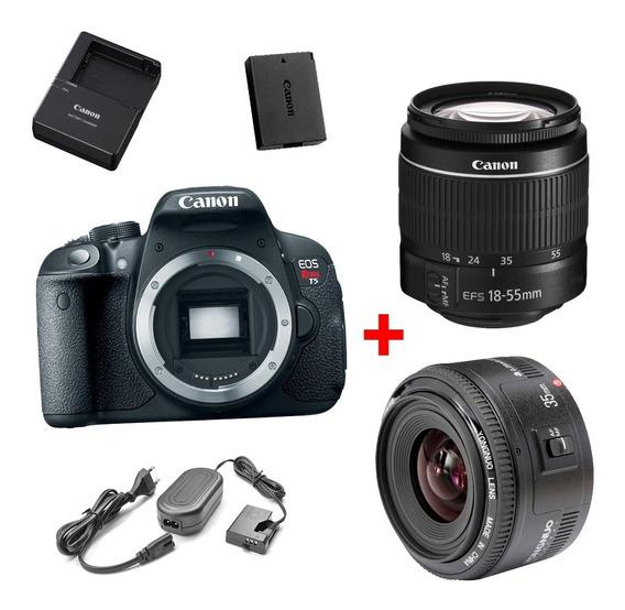 Canon T5 + 18-55mm + 35mm F2 + Fonte (todos Os Acessórios)