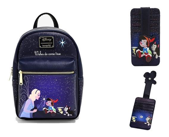 Disney Loungefly Mini Mochila Pinocho + Tarjetero En Stock!!