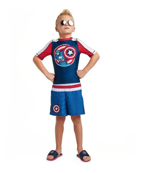 Traje De Baño Niños Capitan America Original Disney Store