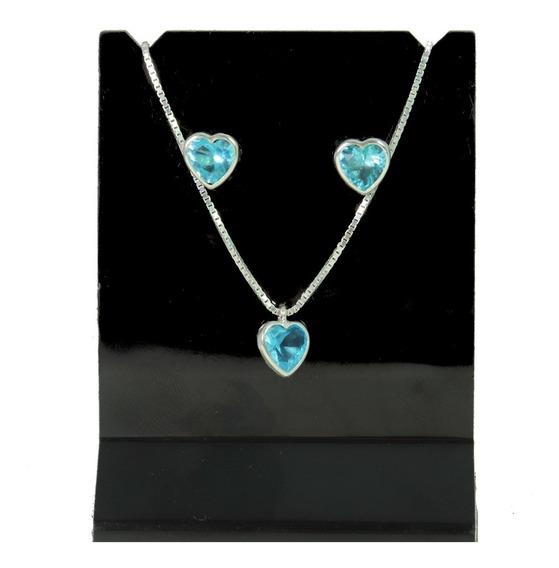 Conjunto Prata 925 Ponto Luz Colar E Brinco Coração Azul