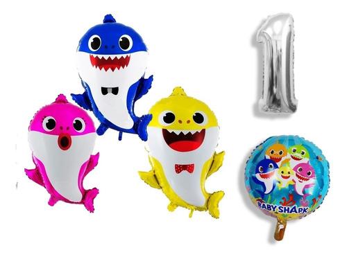 Globos Metalizados Baby Shark Pack X3+ Numero X1