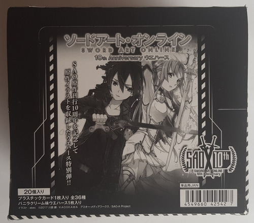 Sword Art Online 10th Anniversary Bandai Wafer Caja 20 Sobre