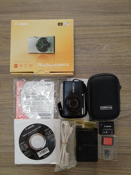 Câmera Digital Canon Porwershot A3400 Is 16mp Capa E Cartão