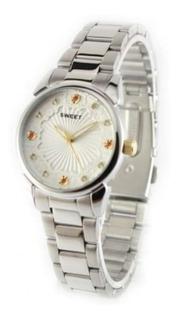 Relojes Sweet Dama Plateado Cristales Swarovski New Garantia