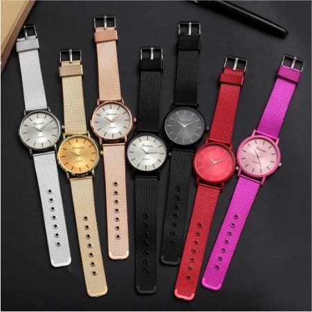 Kit Atacado 10 Relógio Feminino Geneva Luxo Diversas Cores Pulseira Silicone Pronta Entrega Lançamento