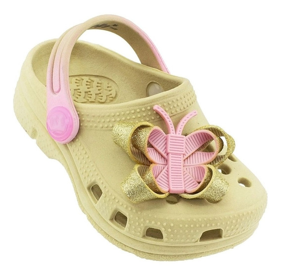 Babuche Plugt Borboleta Gliter Infantil - Creme/rosa