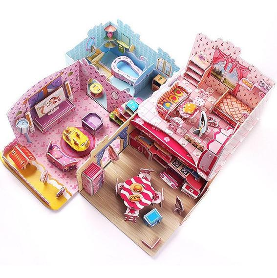3d Jigsaw Puzzle Modelo Muñeca Casa Muebles Kits
