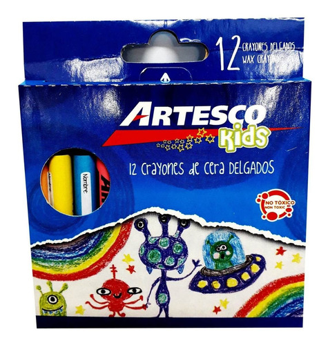 Imagen 1 de 1 de Crayones Artesco D/cera DeLG (x12) Carton