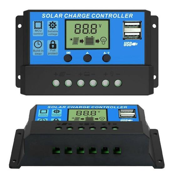 Controlador Carga Painel Solar 30a 12e24v Pwm Lcd Regulador