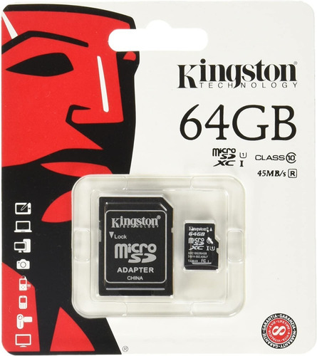 Tarjeta De Memoria Micro Sd Kingston 64 Gb Clase 10, 45 M/s