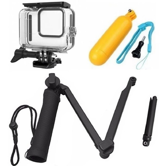 Kit P Gopro Hero 8 Black Tripé 3 Way Bastão Caixa Estanque