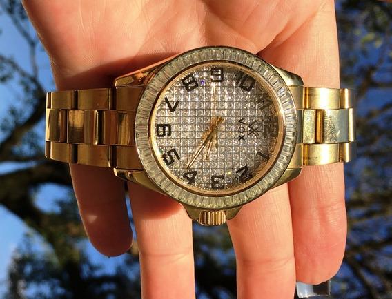 Relógio Vox, Dourado Todo Cravejado Em Zircônia