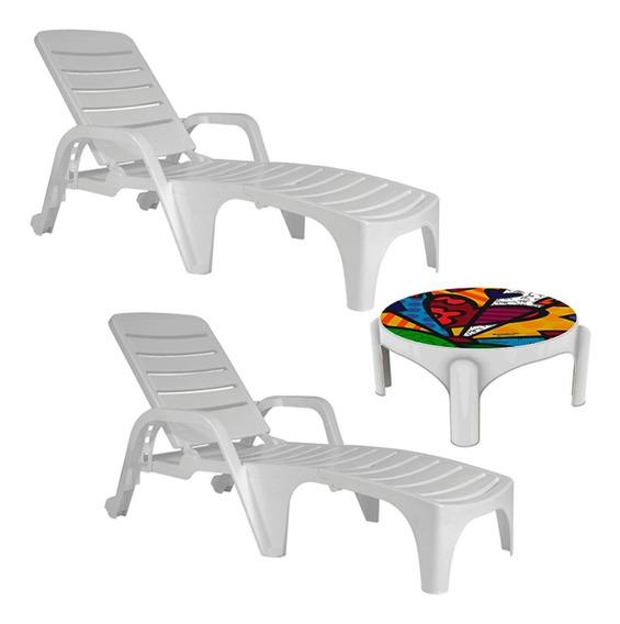 Kit 2 Espreguiçadeiras Com Roda Copacabana Com Mesa Britto