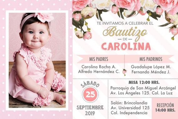 Invitación Imprimible Personalizada Bautizo Niña Flores