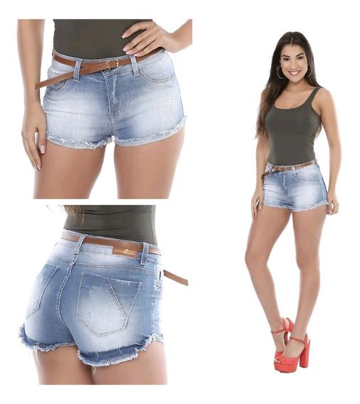 Shorts Jeans Curto Feminina C/ Cinto Marrom Sawary Desfiado