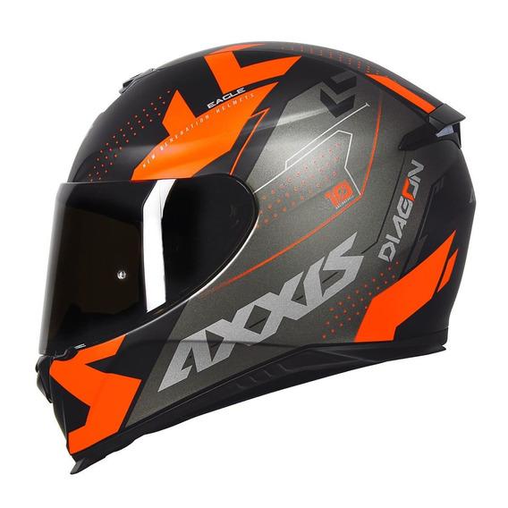 Capacete Axxis Eagle Diagon Matt Black/grey/orange