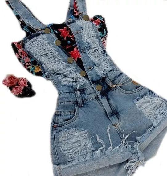 Cropped + Jardineira Curta Jeans Sem Lycra*