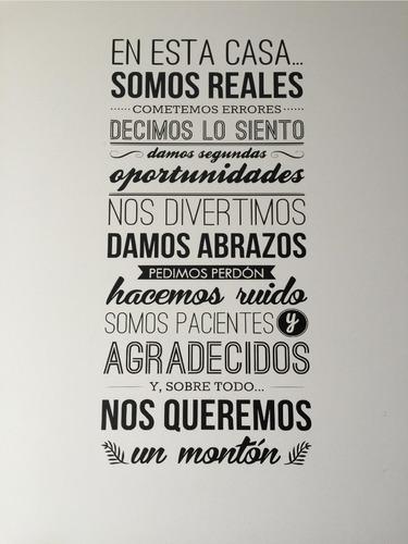 Vinilo Pared Frase  En Esta Casa...   60x100cm | Jota